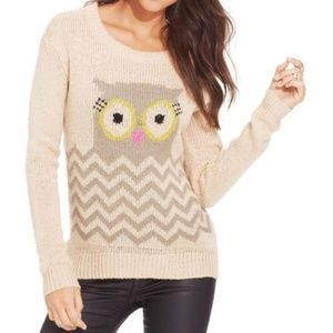 REWIND BEIGE KNIT SWEATER WITH AN OWL XL